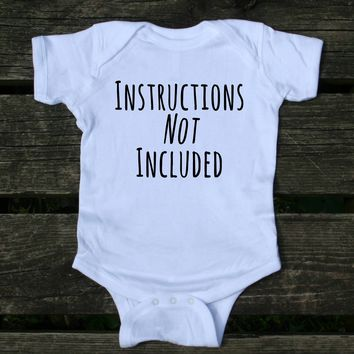 Instructions Not Included Baby Onesuit Funny First Child Newborn Girl Boy Clothing