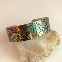 Art Cuff bracelet, wide adjustable boho art bohemian bright colorful multicolor birthday gift gifts for her woman