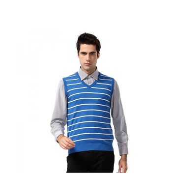 Men's Business Wool V-neck Sleeveless Knitted Vest Fashion Casual Striped  Argyle Slim Sweater