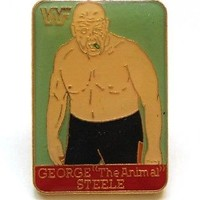 "WWF WORLD WRESTLING VINTAGE PIN BUTTON * GEORGE ""THE ANIMAL"" STEELE* RARE FIND!"