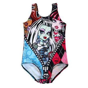 Girl Summer cartoon Monster High Zipper Skull 3D Prints One-piece Swimsuit