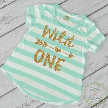 Wild One Shirt Wild One Birthday Girl First Birthday Outfit Girl Gold Glitter One Year Old Girl 1st Birthday Girl Outfit Green T-Shirt 023