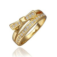 DUMAN 18K Yellow Gold Plated White Bow-knot Ring Swarovski Elements Crystal, Size 8