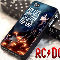 Sword Art Online Kirito Quote - for iPhone 4/4s/5/5s/5c - iPod 2/4/5 - Samsung Galaxy s2/s3/s4/s5 Case