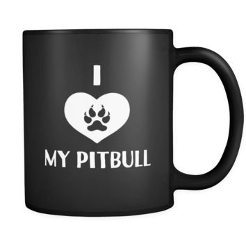 Pitbull I Love My Pitbull 11oz Black Mug