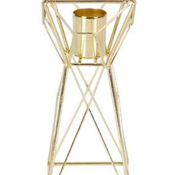 """Geometric Metal Candle Holder in Gold - 6"""" Tall x 2.5"""" Wide"""