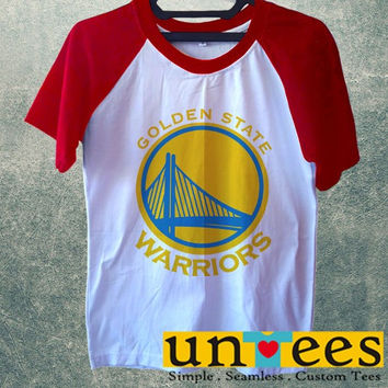 Women's Short Sleeve Raglan Baseball T-shirt - Golden State Warriors Logo design