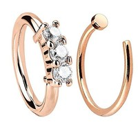 Nose Ring Hoop Tragus Helix Earring Crown CZ Rose Gold Stainless Steel 20G Body Piercing Set 2PC