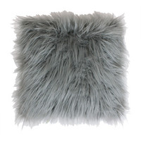 Shop Keller Faux Mongolian 16-in W x 16-in L Silver Square Indoor Decorative Pillow at Lowes.com