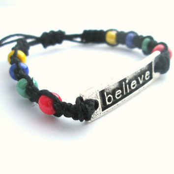 Believe Bracelet Beaded Hemp Jewelry Primary Colors Macrame Bracelet