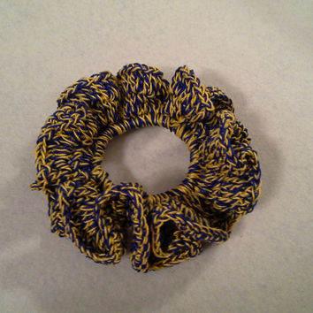 Ponytail hair scrunchie, crochet scrunchie, BLUE and GOLD hair scrunchie, ponytail hair accessories, hair tie