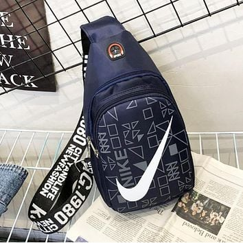 NIKE Fashion New Hook Print Women Men Leisure Shoulder Bag Bust Crossbody Bag Dark Blue
