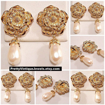 Avon Flower Pearl Dangle Clip On Earrings Gold Vintage 1994 Summerset Collection Brushed Petals Teardrop Long White Bead Scalloped Top End
