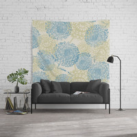 blue and green flowers Wall Tapestry by sylviacookphotography