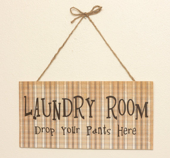 Laundry Room Drop Your Pants Here  Funny Wall by TheBeautifulHome