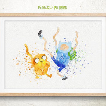 Jake and Finn, Adventure Time - Watercolor, Art Print, Home Wall decor, Watercolor Print, Adventure Time Poster