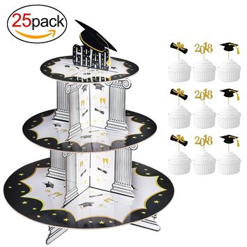 Graduation Cupcake Holder& BONUS Picks Decoration Set(25Pack), Konsait 3 Tiered Grad Party Cupcake Holders Display Rack Stands Tower for Grad Party Decor Graduation Serving Dessert Favors Supplies