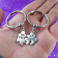 Best Friends keychains, best friend keychain, best friend gift, best friends gifts, puzzle piece keychains, best friend puzzle pieces