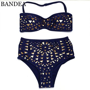 2017 sexy Push Up swimwear golden Print bikini brazilian swimsuit High Waist bathing suit Women swimsuit maillot de bain