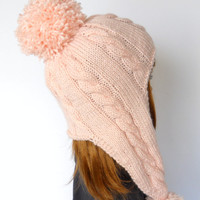 Blush Pink Beanie with Long Ear Flaps, Pale Peach Earflap Hat, Blush Pom Pom Beanie, Cabled Handknit Hat, Snowboard Hat, Ski Beanie