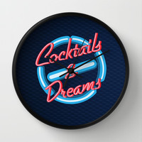 Cocktails and dreams neon sign Decorative Circle Wall Clock Watch by Three Second