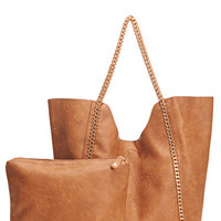 Double Chain Tote Bag & Tote - Brown