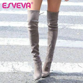 ESVEVA 2017 Western Style Spring Over The Knee Boots Square High Heel Women Boots Sexy