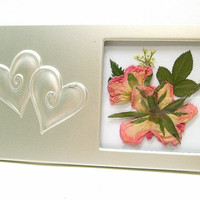 Pressed roses flower picture, Silver frame with embossed hearts, Real roses & rosebuds, Wedding gift, Keepsake, Anniversary, Valentines Day