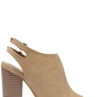 First to Know Beige Peep-Toe Booties