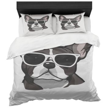 French Bulldog Bed In A Box Duvet Cover And Standard Pillow Sham King And Queen Sizes Microfiber Fabric