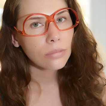 Vintage 1970s 1980s Orange Oval Eyeglasses Drop arm design Frame France