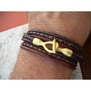 Men's Bracelets Leather, Leather Bracelets for Men, Leather Bracelet, Mens Bracelet, Leather Wrap Bracelet,  22k Gold Plated Hook Clasp,