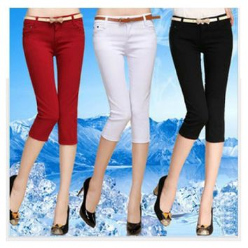 2017 New Arrival Female Casual Elastic Wear pencil Pants with Slim Candy-Colour Capris Cotton Skinny Calf-Length Pants