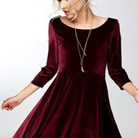 Lucky Duck Lap of Luxury Burgundy Long Sleeve Velvet Dress