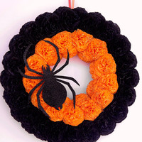 Halloween wreath Spider wreath Halloween door decoration Halloween door wreath All Saints' Eve wreath Black halloween wreath Orange wreath