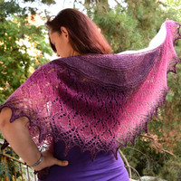 Purple fuchsia pink wool shawlette, womens scarf,  lace shouldercover, warm lithuanian shawl, crescent shape