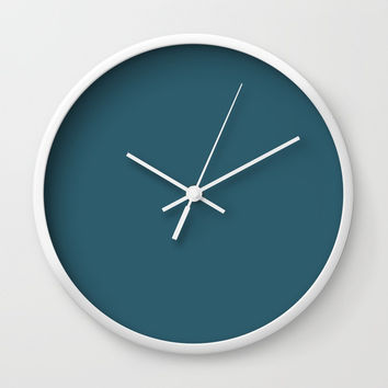 Teal The World (Blue) Wall Clock by Moonshine Paradise