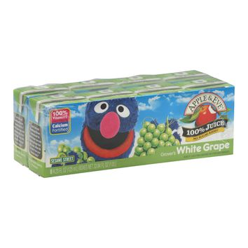Apple And Eve Sesame Street 100 Percent Juice - Grover's White Grape - Case Of 5 - 125 Ml