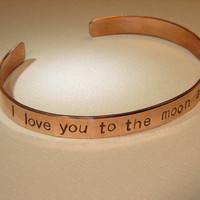 I love you to the moon and back copper cuff bracelet