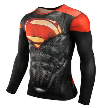 New 2017 Cosplay Fitness Compression Shirt Men Batman Superman Bodybuilding Raglan Long Sleeve 3D T Shirt Crossfit Tops Shirts