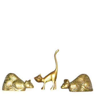 Vintage Brass cats Cat Figurines Brass cat Paperweights Cat Statues Set of 3 Brass cats Desk Accessory Animal Figurines Nursery Decor