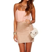 Mauve/Mocha Lace Colorblock Dress