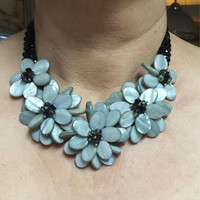 Light Grey Crystal Glass and Beads Floral Statement Necklace