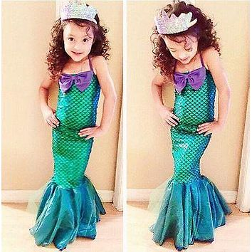 the little mermaid tail princess ariel dress cosplay costume kids for girl fancy green dress Halloween Christmas cosplay costume