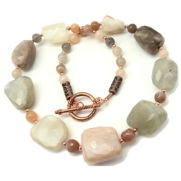 Moonstone Necklace 18 - Faceted White Peach Chunky Gemstone