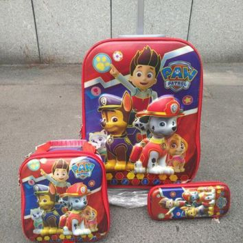 New cartoon dog   child  luggage sets 6D EVA  travel suitcase wheel (lunch box + pen boxes+trolley luggage ) kids luggage