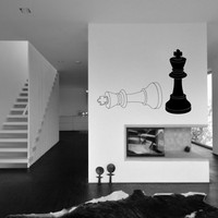 Chess Pieces - Two Kings vinyl wall decal - removable wall decor for playroom and kids room