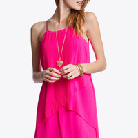 Hot Pink Scalloped Layered Dress