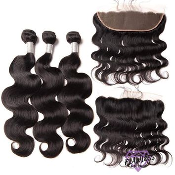 Peruvian Body Wave  Hair Extensions 3 Bundles With Lace Frontal
