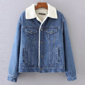 Trendy Warm winter denim jacket for Female 2018 New Fashion Autumn Winter Wool lining Jeans Coat Women Bomber Jackets casaco feminino AT_94_13